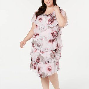 SL Fashions Plus Size Tiered Floral-Print Dress